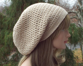 Oatmeal Heather Slouchy Beanie, Womens Crochet Hat, Slouchy Hat, Beige Slouch Beanie, Oversized Hipster Hat, Slouch Hat, Baggy Beanie