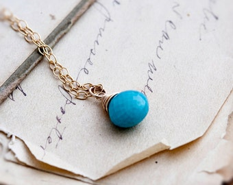 Turquoise Necklace, Turquoise Pendant, December Birthstone, Turquoise Jewelry, 14K Gold Filled, Resort Jewelry, Birthstone Jewelry, PoleStar