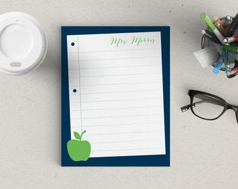 Personalized Notepad Teachers Apple