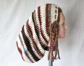 Large Crochet Rasta Tam for Long Dreads Dreadlocks Sock Hat - Off White with Shades of Brown