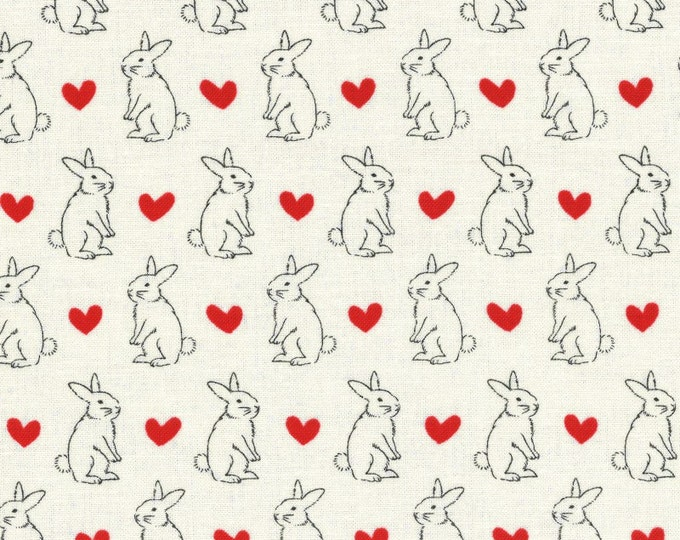 Radiant Girl Fabric by Lecien - Bunny L49181-10 White