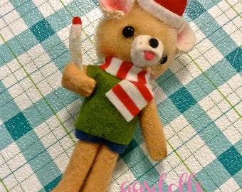 Vintage Japan Christmas Ornament Cute Felt Kawaii Boy Bear