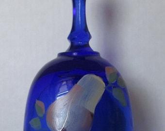 Fenton Blue Glass Bell Hand Painted Pear Artist Signed K.Buskirk