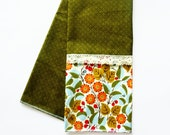 Autumn Kitchen Towel - Fall Decor - Thanksgiving Decoration - Stove Handle Towel - Fall Colors - Olive Green Floral - Prep Towel - Dish