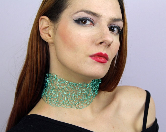 Teal Metal Choker Necklace Crochet Wire Lace  Boho Chic Elegant Accessory  Handmade Blue Jewelry