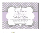 Lavender Gray Baby Shower Invitation Girl Monogram Invite Lilac Grey Printable | Printed
