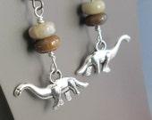 Dinosaur Coprolite Earrings, Petrified Fossil Jewelry, T-Rex or Brontosaurus Charms, Agatized Dino Poop, Science Geek Present
