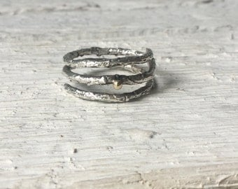 Double branch ring-Silver Twig ring-Sterling silver ring-Adjustable ring-Elvish ring
