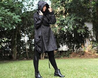 Mystical night dress..Linen two layer black (1238) L Size