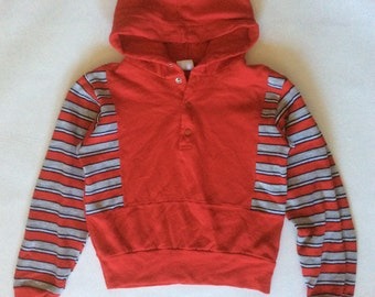 Vintage child's sweatshirt, early 1980's, color block hoodie in red, black, white, and gray paneled with solid red, 8 / S