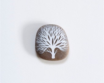 Bare Tree 8 - Painted Stone - Beach Pebble, Nature Art - by Natasha Newton