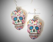 Dia de los Muertos Skull Earrings - Resin Pewter Charms with Solid 925 Sterling Silver Ear Wires - Insurance Included