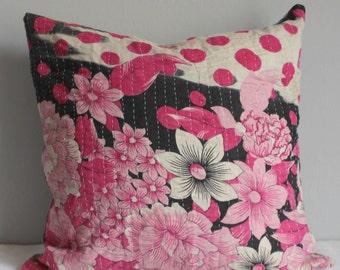 Kantha pillow slip vintage 50x50cm pink light blue