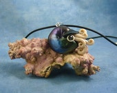 Deep Space Nautilus Necklace, Handmade Polymer Clay Jewelry