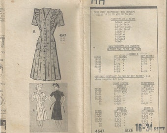 RARE 1940s Mail Order 4547 House Dress Sewing Pattern Size 16 B34