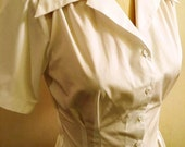 White cotton 1940s style short sleeve cotton blouse S to XL
