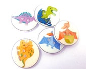 "5 Dinosaur Buttons.  3/4"" or 20 mm."