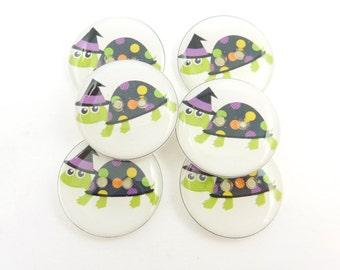 """6 Halloween Turtle  buttons. Handmade buttons. 3/4"""" or 20 mm.  Witch Turtle Sewing buttons. Washer and Dryer Safe."""