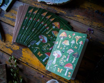 Mushrooms GOLD FOIL Notecard Set   Greeting Cards   Stationery
