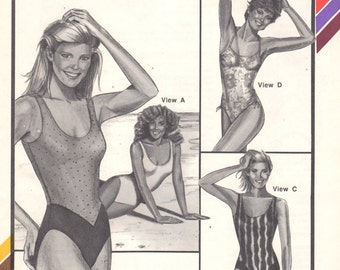 1980s Stretch & Sew 1378 Color Blocked MAILLOTS SWIMSUIT Pattern Womens Vintage Sewing Pattern Bust 30 - 46 UNCUT
