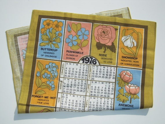 Vintage 1976 Calendar Towel The Language of Flowers