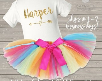 first birthday bodysuit and rainbow tutu set / first birthday outfit rainbow and glitter - gold or pink