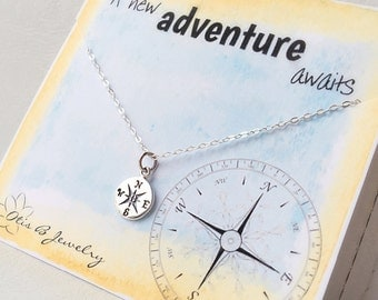 Graduation gift for her, college graduation, compass necklace, good luck, congratulations, compass jewelry, high school graduation, Otis b