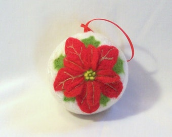 Needle Felted Christmas Ornament - Red Poinsettia