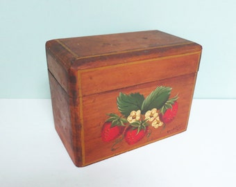 Wooden Recipe Box with Strawberries, Hand Painted in 1964, Signed by Madeline, the Artist