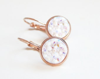 Iridescent white ab druzy earrings set in plated rose gold