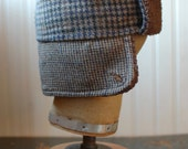 Furry Russian XS: russian style hat made from recycled materials, brown plaid trapper hat for kids, womens winter hat, warm lumberjack hat