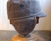 Woodsman M: winter earflap hat in light brown plaid wool tweed
