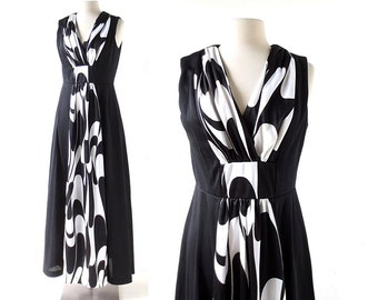 Vintage Maxi Dress | Aalto | Op Art Dress | 1960s Dress | S M