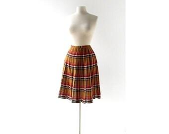Vintage 1950s Skirt / Pleated Plaid Skirt / 50s Skirt / 27W XS S
