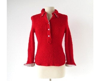 Vintage 1960s Shirt / Red Boucle Sweater / 60s Top / XXS