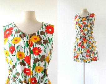 Vintage Scooter Dress | Floral Print Dress | 1960s Dress | L XL