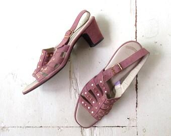 Vintage Suede Sandals / 1960s Shoes / Mauve Studded Heels / Size 10