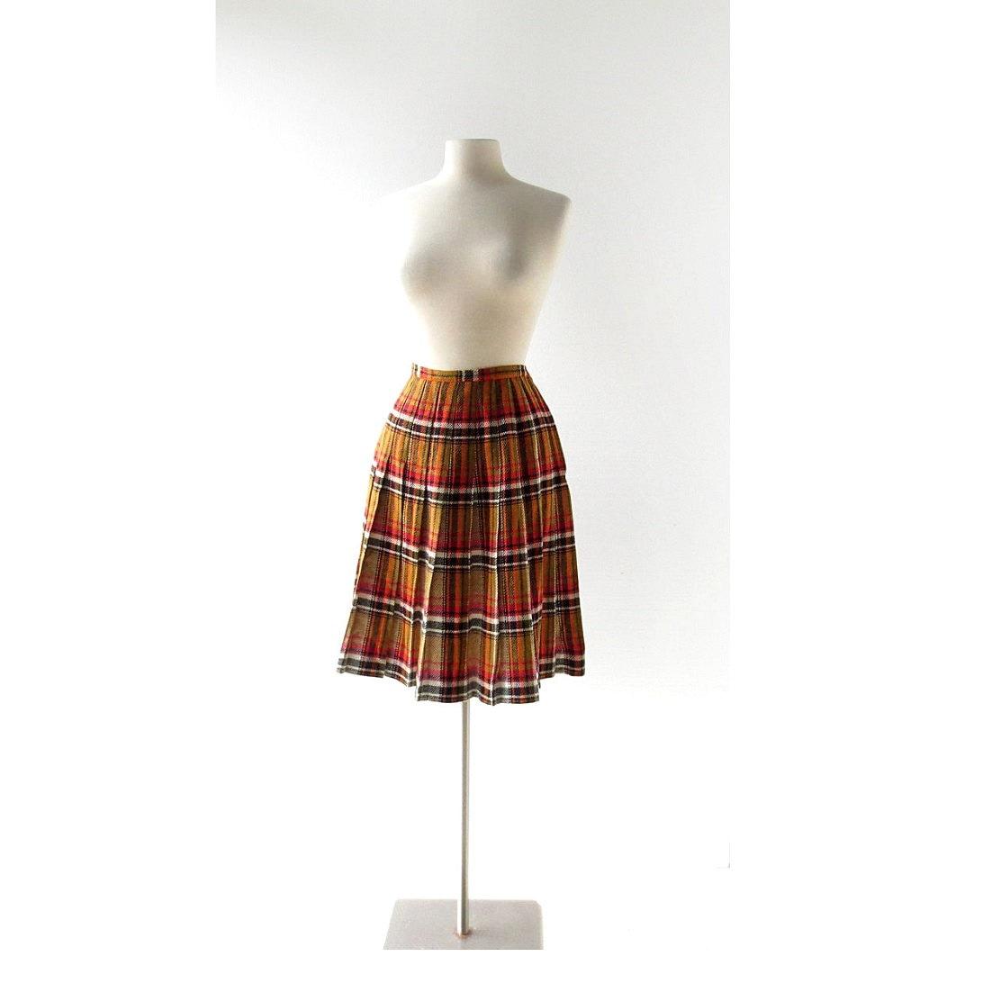 vintage 1950s skirt pleated plaid skirt 50s skirt 27w xs