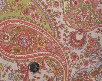 PK052 ~ Pink paisley fabric Pinks Greens Blues Yellows paisley Flowers Heavy fabric Cotton