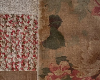 BR017 ~ 4 fabric samples Rose fabric Tan Cream Houndstooth reds