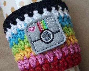Coffee Cozy Crochet { Instagram Love } Camera, selfie, Rainbow, photography decor Coffee mug sweater, cup holder sleeve I love Instagram