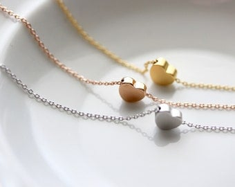 Heart Necklace, Tiny Heart Charm Silver Gold Rose Gold Necklace Bridal Bridesmaid Gift Wedding Heart Jewelry Love Valentine Dainty