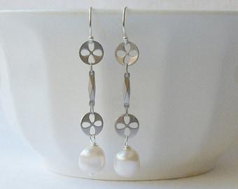 White Freshwater Pearl Earrings, Pearl Jewelry, Pearl Dangle Drop Earrings