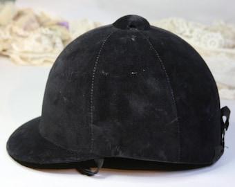 ON SALE Vintage Black Velvet EQUESTRIAN Riding Hat- H. Kauffman & Sons- New York, Ny- Horse Riding- J11