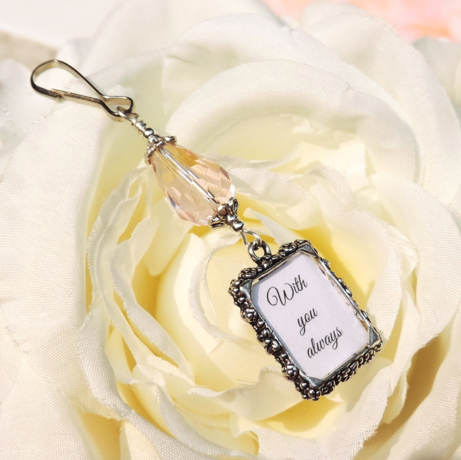 Wedding Bouquet Photo Charm With Pink Teardrop By