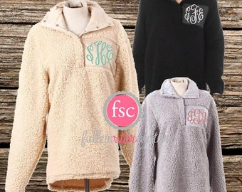 SHERPA Pullover Personalized/ XL left only /monogrammed sherpa /bridal party gifts/ personalized sweatshirt/sorority pullover