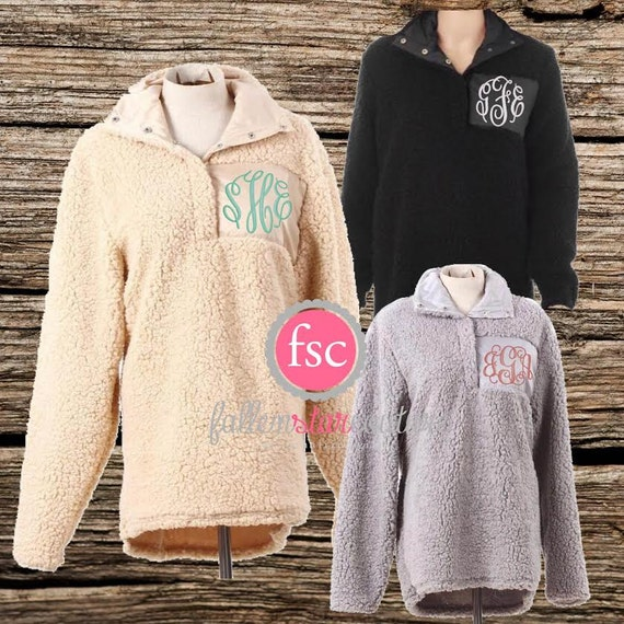 sherpa pullover personalized  monogrammed sherpa  bridal party