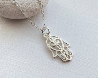 Hamsa Hand Necklace in Sterling Silver - Hand of Fatima Necklace