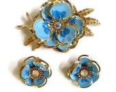 RESERVED for fmartin3780 - Blue Enamel & Aurora Borealis Rhinestones Flower Brooch and Earrings Set Vintage MINT