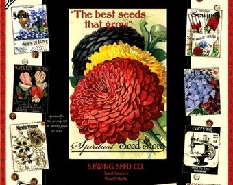 """Quilting Treasures J. Wecker Frisch """"Sewing Seeds""""  #22290EJ Cream Seed Packets  Fabric Panel 23""""x 44"""""""